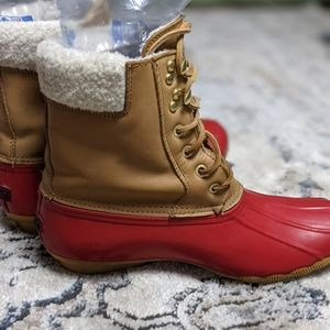 Sperry Saltwater Duck Boots Leather Top Sz 9.5